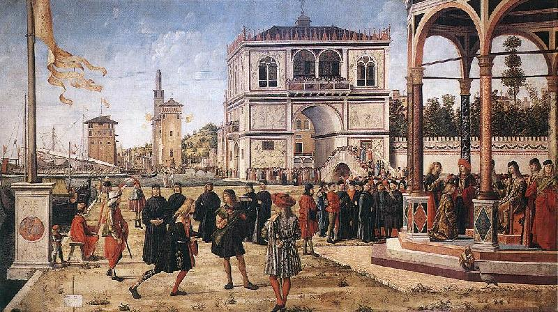 CARPACCIO, Vittore The Ambassadors Return to the English Court fg oil painting picture