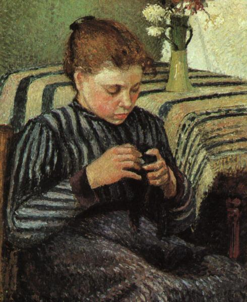 Camille Pissaro Girl Sewing France oil painting art