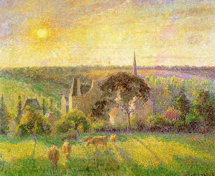 Camille Pissaro Countryside and Eragny Church and Farm oil painting image