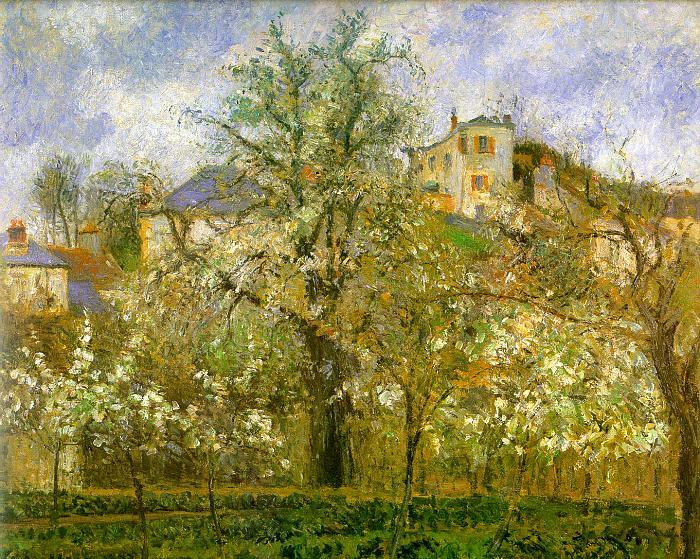 Camille Pissaro Kitchen Garden with Trees in Flower, Pontoise France oil painting art
