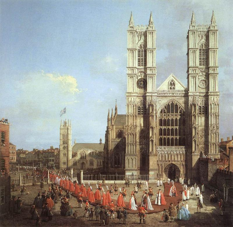 Canaletto London: Westminster Abbey, with a Procession of Knights of the Bath  f oil painting image