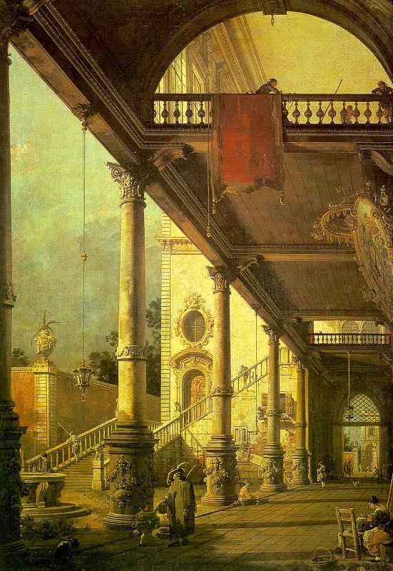 Canaletto Capriccio, A Colonnade opening onto the Courtyard of a Palace oil painting image