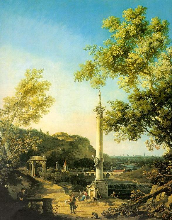 Canaletto Capriccio-River Landscape with a Column, a Ruined Roman Arch and Reminiscences of England oil painting image
