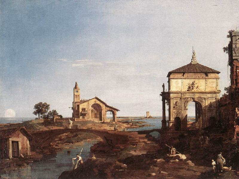 Canaletto Capriccio with Venetian Motifs df oil painting image