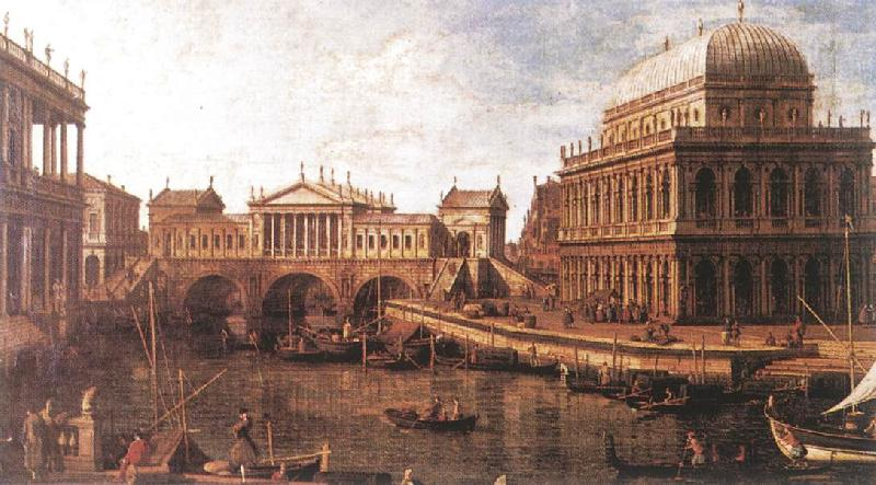 Canaletto Capriccio: a Palladian Design for the Rialto Bridge, with Buildings at Vicenza oil painting image