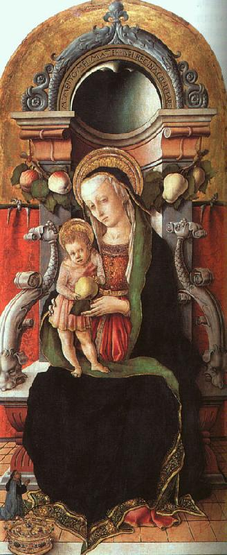 Carlo Crivelli Madonna and Child Enthroned with a Donor oil painting image