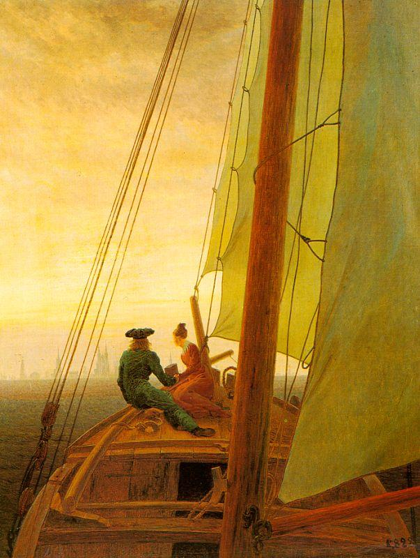 Caspar David Friedrich On Board a Sailing Ship oil painting image