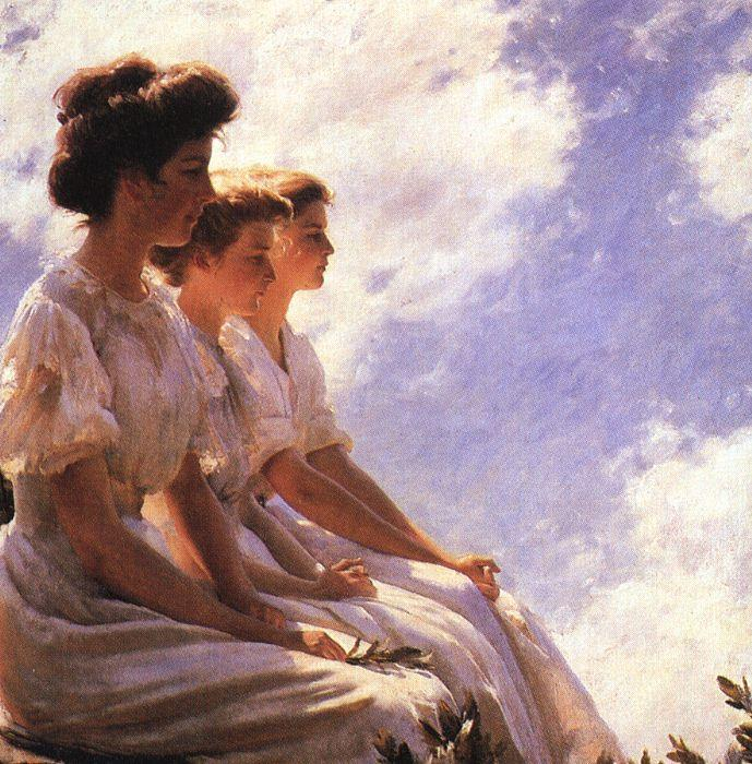 Charles Courtney Curran On the Heights France oil painting art
