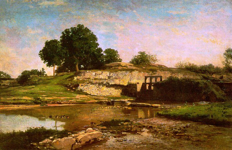 Charles Francois Daubigny The Flood Gate at Optevoz oil painting image