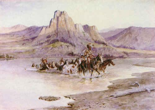 Charles M Russell Return of the Horse Thieves France oil painting art