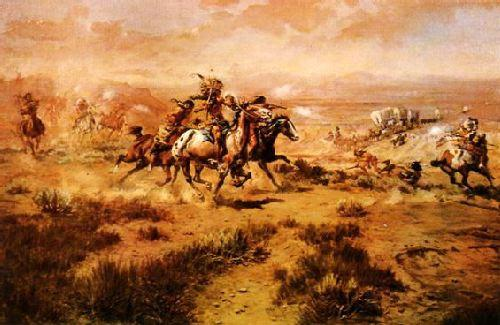 Charles M Russell The Attack on the Wagon Train France oil painting art