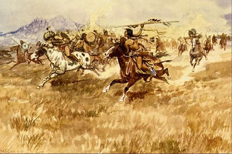 Charles M Russell Fight Between the Black Feet oil painting image