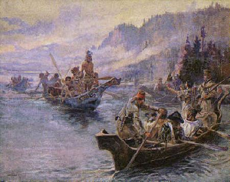 Charles M Russell Lewis and Clark on the Lower Columbia France oil painting art