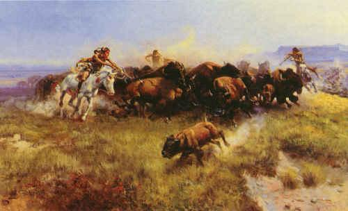 Charles M Russell The Buffalo Hunt oil painting image