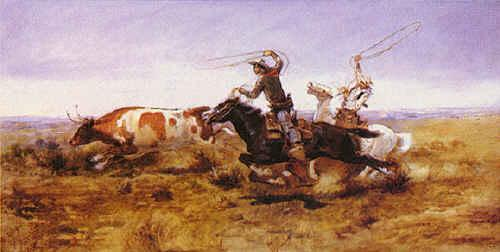 Charles M Russell O.H.Cowboys Roping a Steer France oil painting art