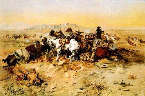 Charles M Russell A Desperate Stand oil painting image