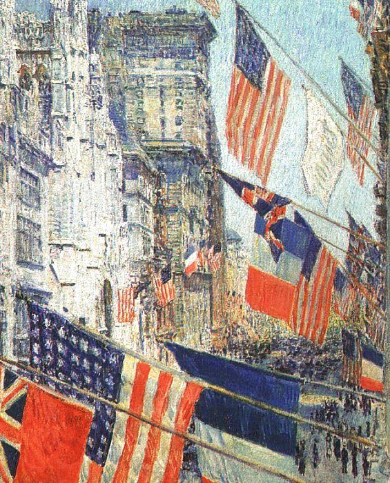 Childe Hassam Allies Day in May 1917 France oil painting art