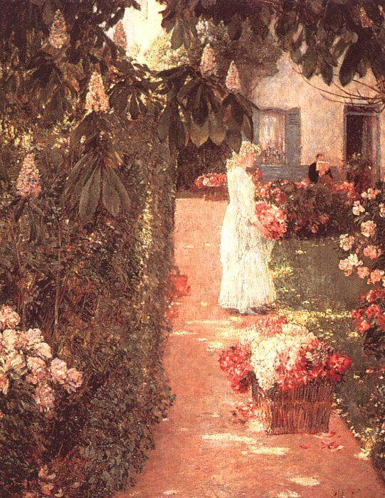 Childe Hassam Gathering Flowers in a French Garden France oil painting art