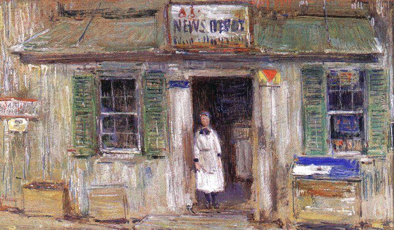 Childe Hassam News Depot at Cos Cob France oil painting art