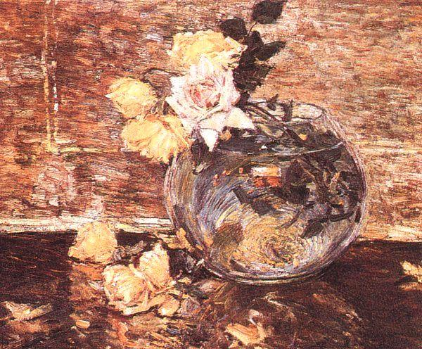 Childe Hassam Vase of Roses France oil painting art