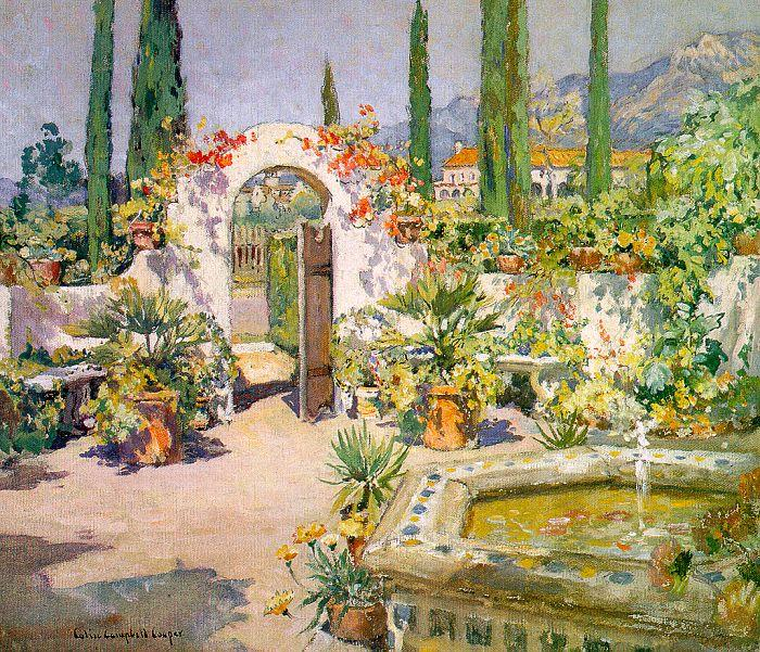 Colin Campbell Cooper A Santa Barbara Courtyard France oil painting art