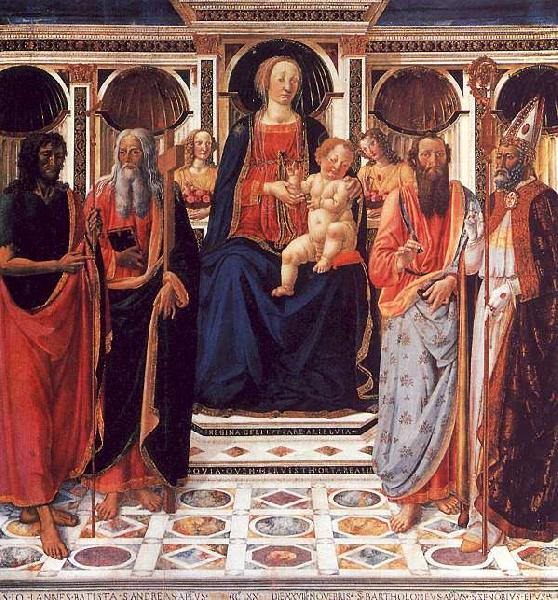 Cosimo Rosselli The Virgin and Child Enthroned with Saints France oil painting art
