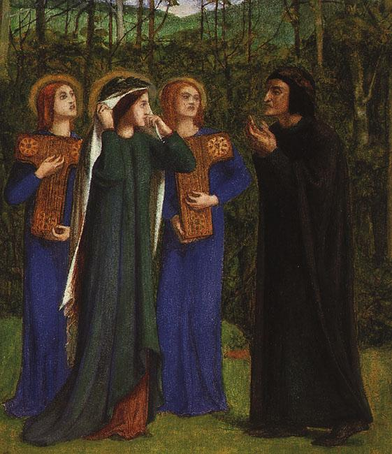 Dante Gabriel Rossetti The Meeting of Dante and Beatrice in Paradise oil painting image