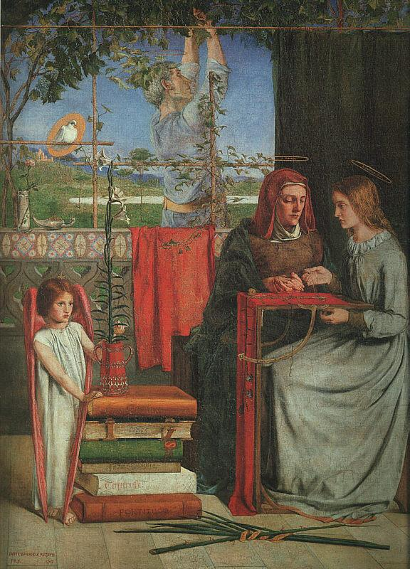 Dante Gabriel Rossetti The Girlhood of Mary Virgin France oil painting art