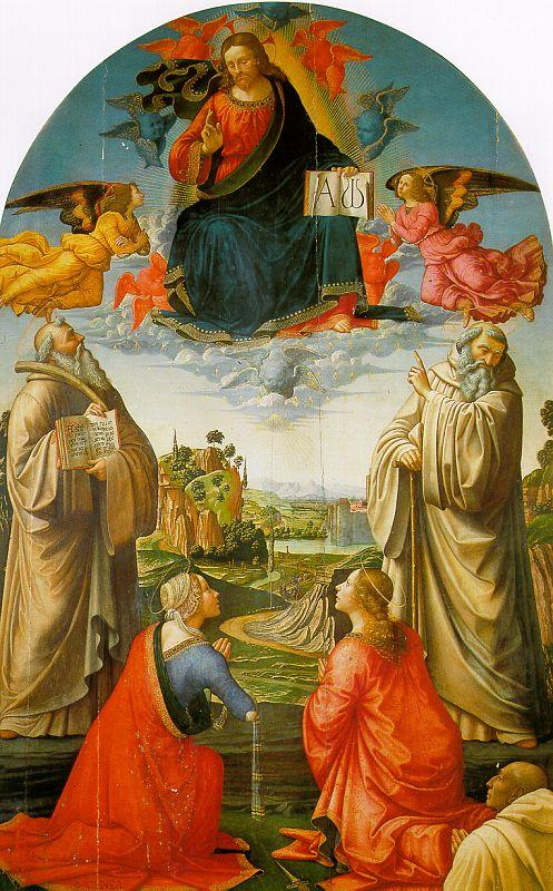 Domenico Ghirlandaio Christ in Heaven with Four Saints and a Donor oil painting image