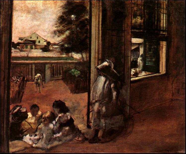 Edgar Degas Children Sat Down in the House Door oil painting image