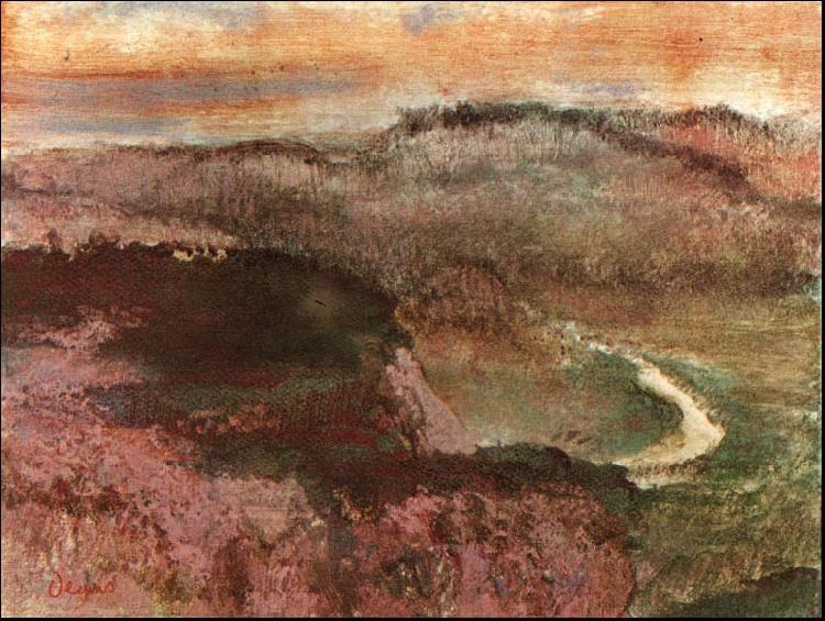 Edgar Degas Landscape with Hills oil painting image
