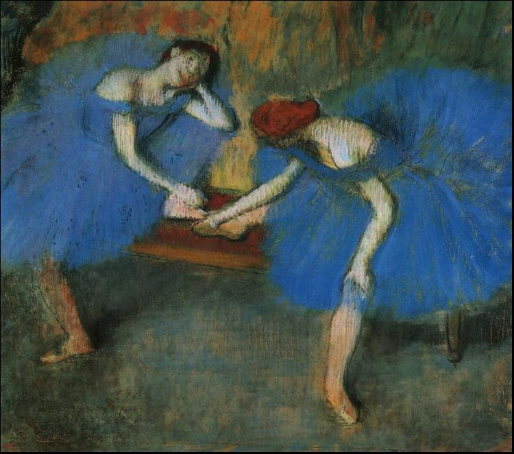 Edgar Degas Two Dancers in Blue oil painting image