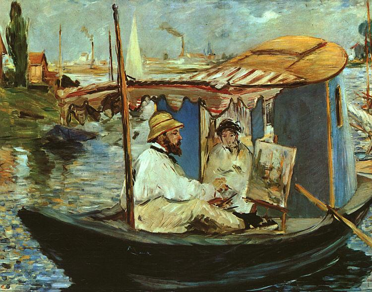 Edouard Manet Claude Monet Working on his Boat in Argenteuil oil painting image