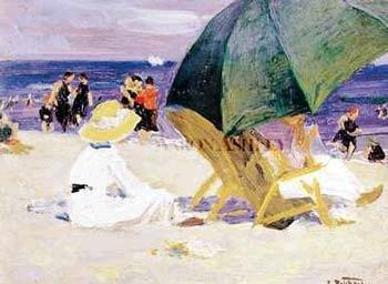Edward Henry Potthast Prints Green Umbrella France oil painting art