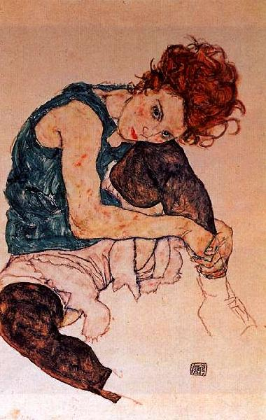 Egon Schiele Seated Woman with Bent Knee France oil painting art