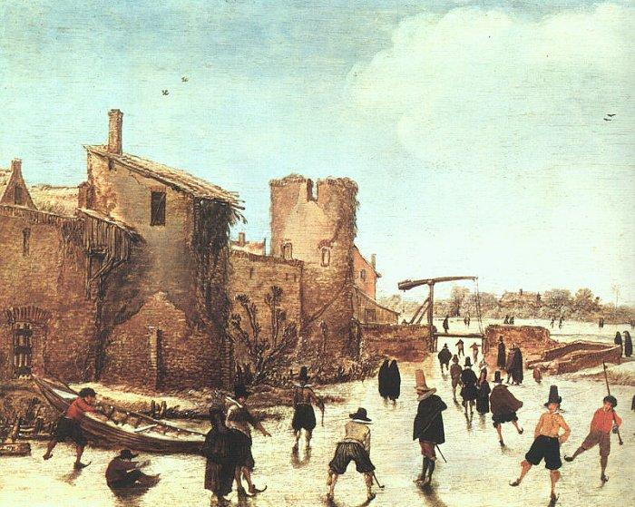 Esaias Van de Velde Skaters on the Moat by the Walls oil painting image