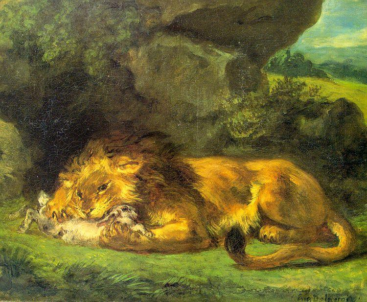 Eugene Delacroix Lion with a Rabbit oil painting image