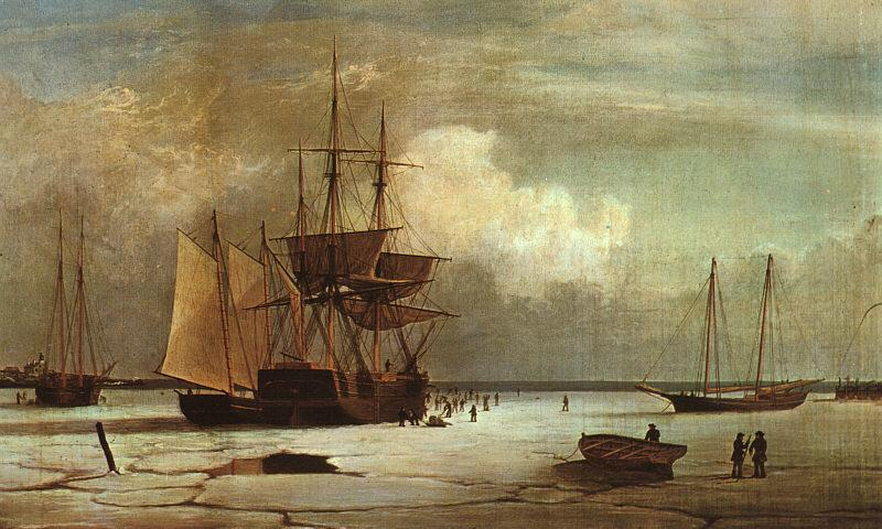 Fitz Hugh Lane Ships Stuck in Ice off Ten Pound Island, Gloucester France oil painting art