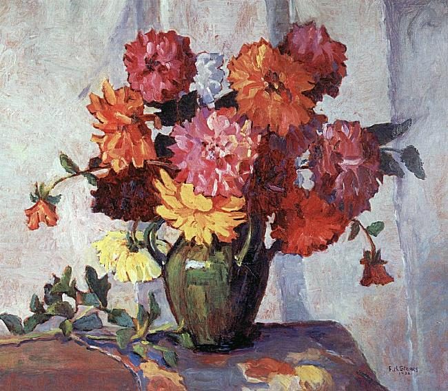 Frances Hudson Storrs Dahlias France oil painting art