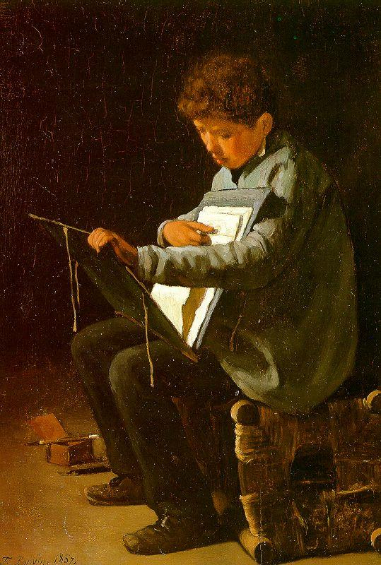 Francois Bonvin Seated Boy with a Portfolio oil painting image