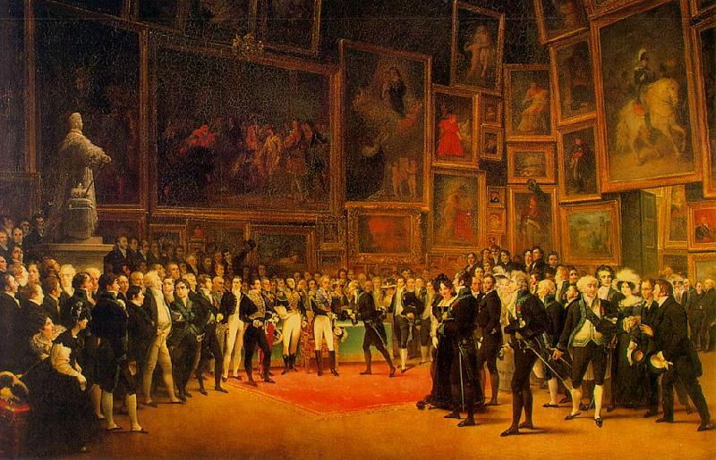 Francois-Joseph Heim Charles  Distributing Awards to Artists Exhibiting at the Salon of 1824 at the Louvre oil painting image