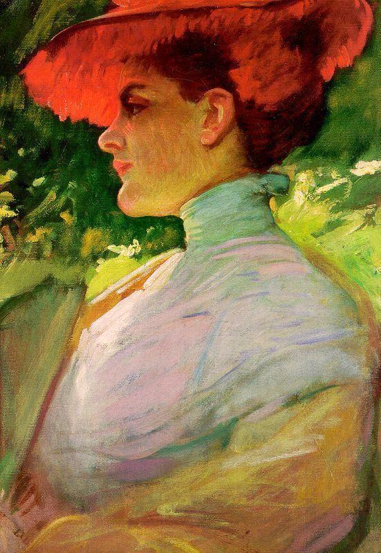 Frank Duveneck Lady With a Red Hat France oil painting art