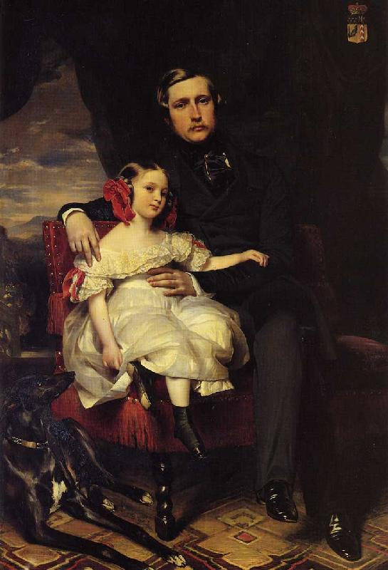 Franz Xaver Winterhalter Napoleon Alexandre Louis Joseph Berthier, Prince de Wagram and his Daughter, Malcy Louise Caroline F oil painting image
