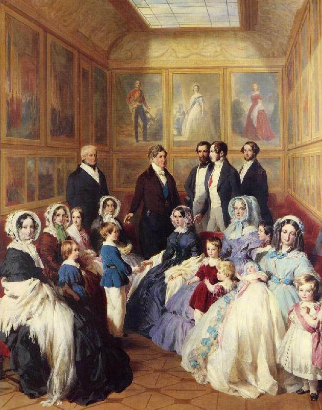 Franz Xaver Winterhalter Queen Victoria and Prince Albert with the Family of King Louis Philippe at the Chateau D'Eu oil painting image