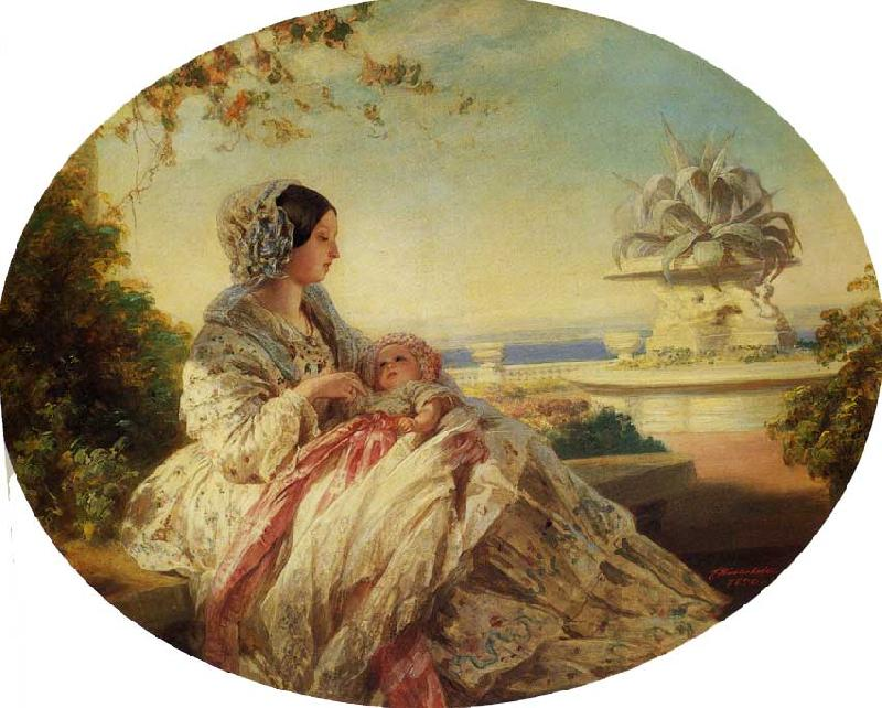 Franz Xaver Winterhalter Queen Victoria with Prince Arthur oil painting image