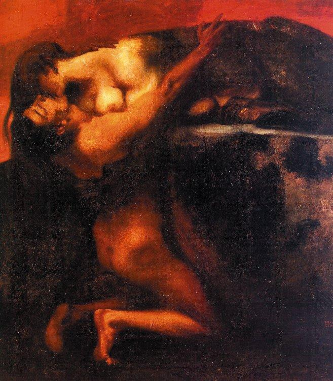 Franz von Stuck The Kiss of the Sphinx France oil painting art