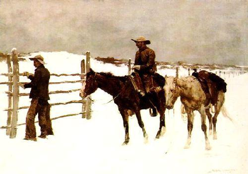 Frederick Remington The Fall of the Cowboy France oil painting art