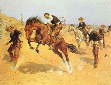 Frederick Remington Turn Him Loose, Bill France oil painting art