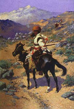 Frederick Remington Indian Trapper France oil painting art