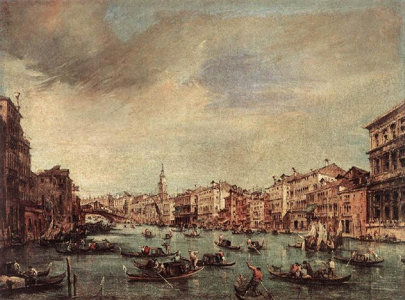 GUARDI, Francesco The Grand Canal, Looking toward the Rialto Bridge sg oil painting image